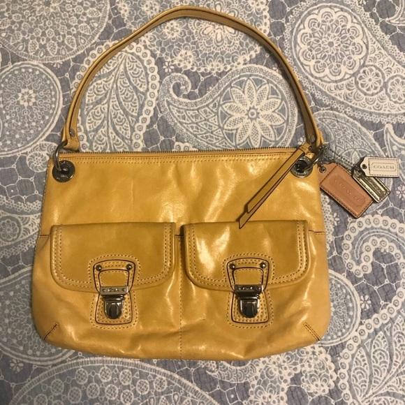 897adba323 Coach Bags | Poppy Hippie Yellow Leather Handbag | Poshmark